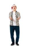 戴圣诞老人帽子的人 免版税库存图片