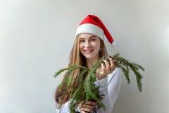 圣诞老人帽子的女孩有圣诞节绿色冷杉的分支 免版税图库摄影