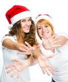 圣诞老人帽子的女孩 库存照片