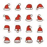 圣诞老人帽子的汇集 库存照片
