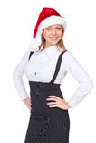 圣诞老人帽子的兴奋女实业家 库存图片