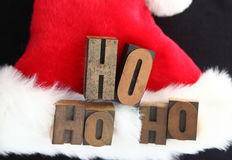 圣诞老人帽子ho ho ho 免版税库存照片