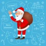 圣诞老人平的字符 库存照片