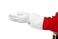 圣诞老人开放掌上型计算机特写镜头射击  免版税库存照片