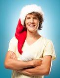 年轻圣诞老人微笑 免版税库存图片