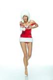 圣诞老人性感的妇女 免版税库存图片