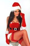 圣诞老人性感的开会 库存图片