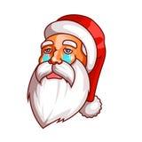 圣诞老人情感 一部分的圣诞节集合 悲伤,哭泣 为印刷品准备 库存图片