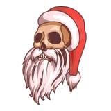 圣诞老人情感 一部分的圣诞节集合 死,头骨 为印刷品准备 免版税库存图片