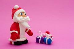圣诞老人手工制造从黏土 库存照片