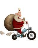 圣诞老人摩托车交付 免版税库存照片