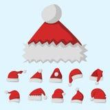 圣诞老人时尚红色帽子现代高雅盖帽冬天xmas假日上面给传染媒介例证穿衣 库存图片