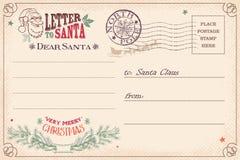 给圣诞老人明信片的葡萄酒信件 免版税库存照片
