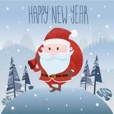 圣诞老人是在森林外面 也corel凹道例证向量 10 eps 免版税库存照片