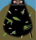 圣诞老人是有黑胡子的恐怖分子 与胳膊的邪恶的圣诞老人 免版税库存照片
