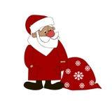圣诞老人有红色袋子被隔绝的白色背景 免版税库存图片