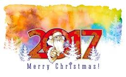 圣诞老人服装的微笑的友好的年轻人  免版税库存图片