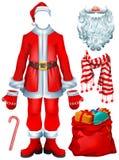 圣诞老人服装礼服和圣诞节辅助部件帽子,手套,胡子,起动,与礼物的袋子,镶边棒棒糖,围巾 免版税库存图片