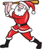 圣诞老人棒球运动员打击被隔绝的动画片 库存例证