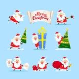 圣诞老人汇集 圣诞快乐树,礼物 向量 库存照片