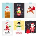 圣诞老人海报集合 圣诞节冬天与圣诞老人的飞行物集合和礼物、xmas鹿和雪人在现代平的动画片设计 向量例证