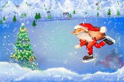 圣诞老人滑冰与袋子 图库摄影