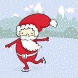 圣诞老人滑冰 免版税库存照片