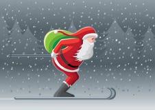 圣诞老人滑雪 免版税库存图片
