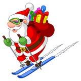 圣诞老人滑雪 库存照片