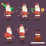 圣诞老人漫画人物被设置的姿势情感 免版税库存照片