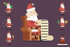 圣诞老人漫画人物被设置的姿势情感 库存照片