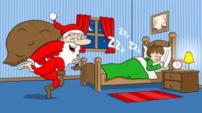 圣诞老人热切去 库存图片