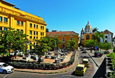 圣诞老人特里萨广场看法,历史的市卡塔赫钠,哥伦比亚 库存图片