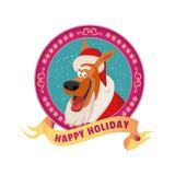 圣诞老人狗徽章 库存图片
