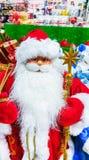 圣诞老人玩具在超级市场 免版税库存照片