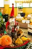圣诞老人用南瓜在蔬菜水果商 免版税库存图片