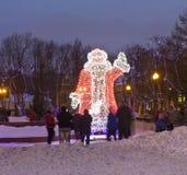 圣诞老人电雕塑  免版税图库摄影