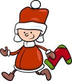 圣诞老人男孩动画片例证 免版税库存照片
