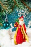 圣诞老人的例证一个雪橇的与驯鹿 库存照片