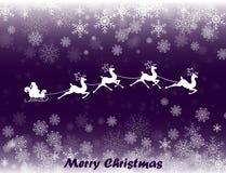 圣诞老人的例证在他的圣诞节雪撬的 库存照片