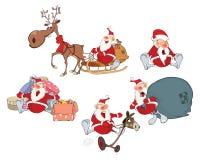 圣诞老人的动画片例证您的设计 设置漫画人物 向量例证
