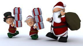 圣诞老人的圣诞节矮子运载的礼品 免版税图库摄影