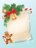 从圣诞老人的圣诞节问候不可思议的纸卷 免版税库存图片