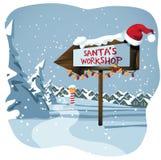 圣诞老人的在北极的车间标志 免版税库存照片
