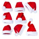 圣诞老人的帽子集 免版税库存图片