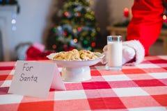 圣诞老人的早餐在桌上保持了 库存照片