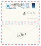 从圣诞老人的明信片信件 库存照片