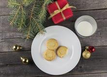 圣诞老人的曲奇饼和牛奶 免版税库存照片