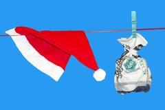 圣诞老人的礼物袋子金钱 库存图片
