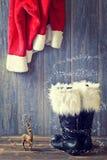 圣诞老人的起动 免版税库存照片